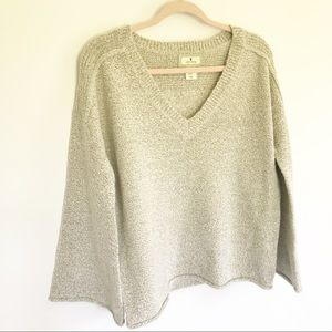 Ruby Moon - Gray Knit Bell Sleeve V-Neck Sweater